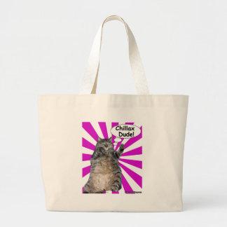 Hippy Kitty Chillax Dude! Canvas Bags
