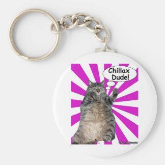 Hippy Kitty Chillax Dude! Basic Round Button Keychain