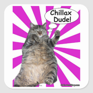 Hippy Kitty Chillax Dude! Square Sticker