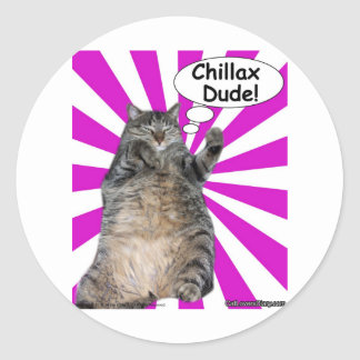 Hippy Kitty Chillax Dude! Sticker