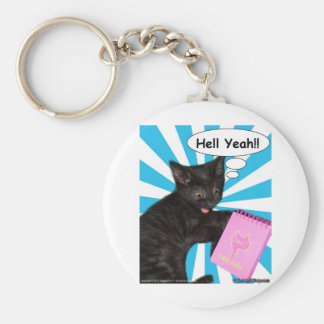 Hippy Kitty Hell Yeah!! Cats Rule Basic Round Button Keychain