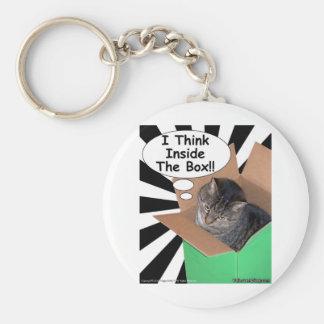 Hippy Kitty Think Inside The Box!! Basic Round Button Keychain