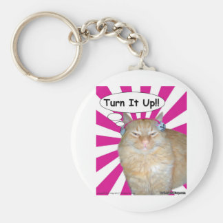 Hippy Kitty Turn It Up!! Basic Round Button Keychain