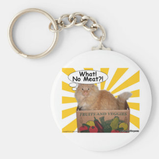 Hippy Kitty What! No Meat?! Basic Round Button Keychain