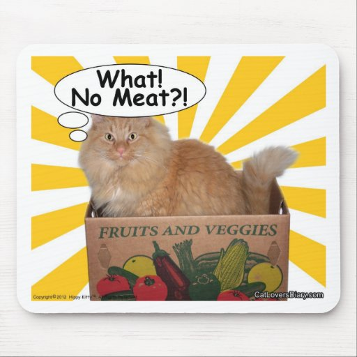 Hippy Kitty What! No Meat?! Mouse Pad
