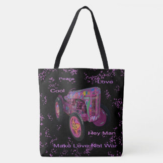 Hippy Love Tractor Lg Full Print Tote Grocery Bag.