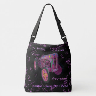 Hippy Love Tractor, Med Full Print Cross Body Bag. Crossbody Bag