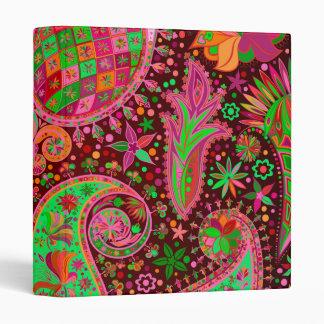 Hippy Peace Retro Colorful Boho Chic 3 Ring Binder