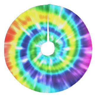 Hippy Peace Retro Tie Dye Colorful Boho Fleece Tree Skirt