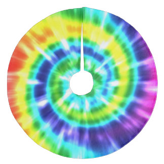 Hippy Peace Retro Tie Dye Colorful Boho Fleece Tree Skirt