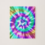 """Hippy Peace Retro Tie Dye Colorful Boho Jigsaw Puzzle<br><div class=""""desc"""">This is an awesome custom gift for anyone who loves hippy chic,  the 60s,  and more.</div>"""