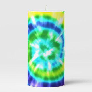 Hippy Peace Retro Tie Dye Colorful Boho Pillar Candle