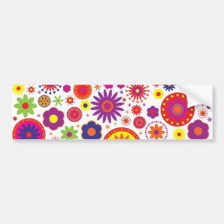 Hippy Rainbow Flowers Bumper Stickers
