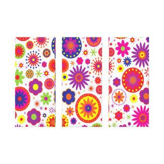 Hippy Rainbow Flowers Canvas Canvas Print