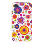 Hippy Rainbow Flowers Case For iPhone 4