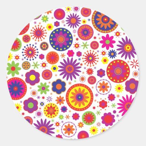 Hippy Rainbow Flowers Classic Round Sticker