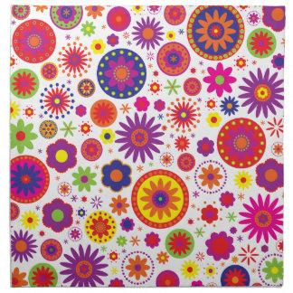 Hippy Rainbow Flowers Cloth Napkin