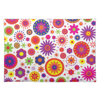 Hippy Rainbow Flowers Cloth Placemat