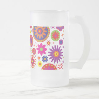Hippy Rainbow Flowers Glass Frosted Glass Beer Mug
