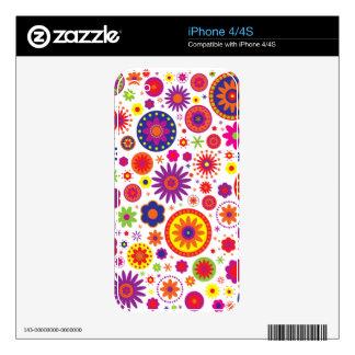 Hippy Rainbow Flowers iPhone 4 Skin