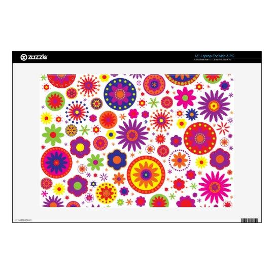 Hippy Rainbow Flowers Laptop Skin