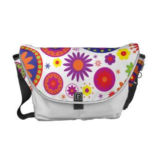 Hippy Rainbow Flowers Messenger Bags