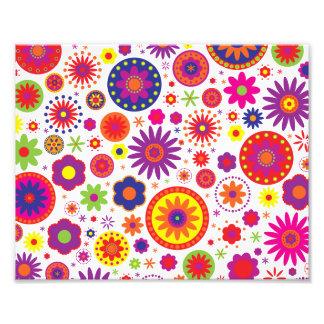 Hippy Rainbow Flowers Photographic Print
