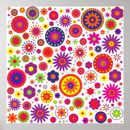 Hippy Rainbow Flowers Poster