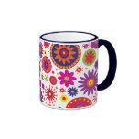 Hippy Rainbow Flowers Ringer Coffee Mug