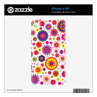 Hippy Rainbow Flowers Decals For The iPhone 4