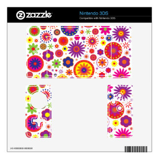 Hippy Rainbow Flowers Skins For 3DS