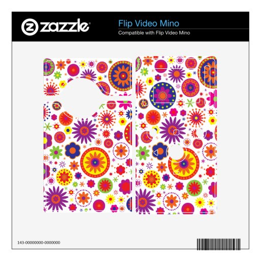 Hippy Rainbow Flowers Skins For Flip Video Mino