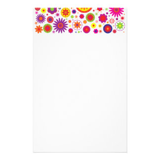 Hippy Rainbow Flowers Stationery
