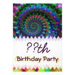 Hippy Rainbow Fractal Art Birthday Invite