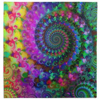 Hippy Rainbow Fractal Art Pattern Cloth Napkin