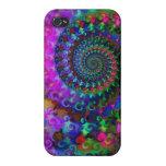 Hippy Rainbow Fractal Art Pattern iPhone 4 Cases