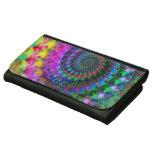 Hippy Rainbow Fractal Art Pattern Leather Wallet