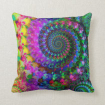 Hippy Rainbow Fractal Art Pattern Pillow