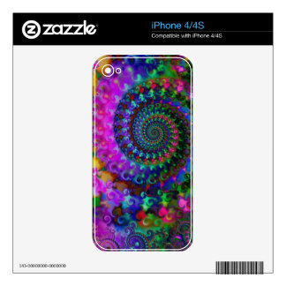 Hippy Rainbow Fractal Art Pattern Skins For The iPhone 4S
