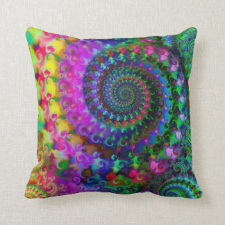 Hippy Rainbow Fractal Art Pattern Throw Pillow