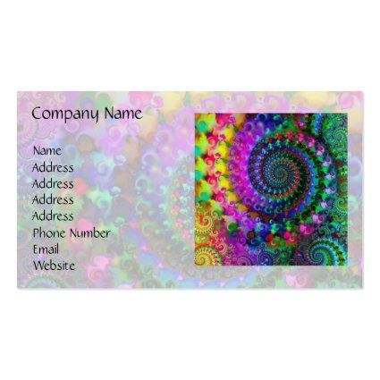 Hippy Rainbow Fractal Pattern Double-Sided Standard Business Cards (Pack Of 100)