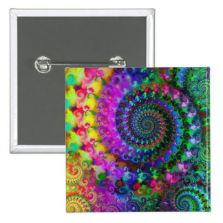 Hippy Rainbow Fractal Pattern 2 Inch Square Button