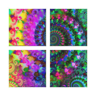 Hippy Rainbow Fractal Pattern Stretched Canvas Print