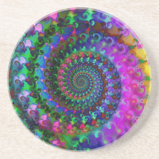 Hippy Rainbow Fractal Pattern Coaster