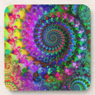 Hippy Rainbow Fractal Pattern Drink Coaster
