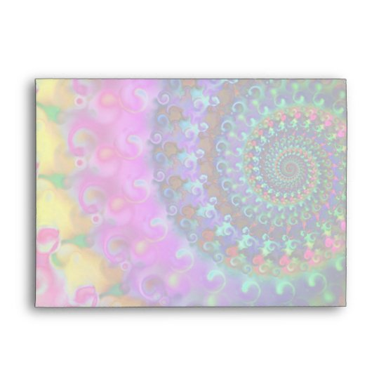 Hippy Rainbow Fractal Pattern Envelope