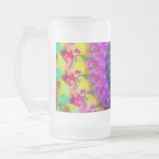 Hippy Rainbow Fractal Pattern Glass Frosted Glass Beer Mug
