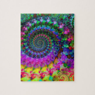 Hippy Rainbow Fractal Pattern Jigsaw Puzzle