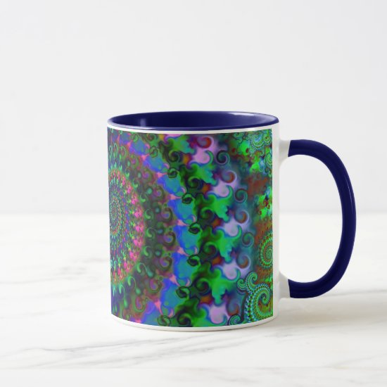 Hippy Rainbow Fractal Pattern Mug