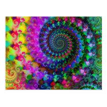 Hippy Rainbow Fractal Pattern Postcard